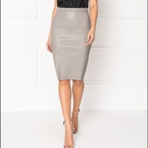 Matthew Williamson Grey Leather Pencil Skirt
